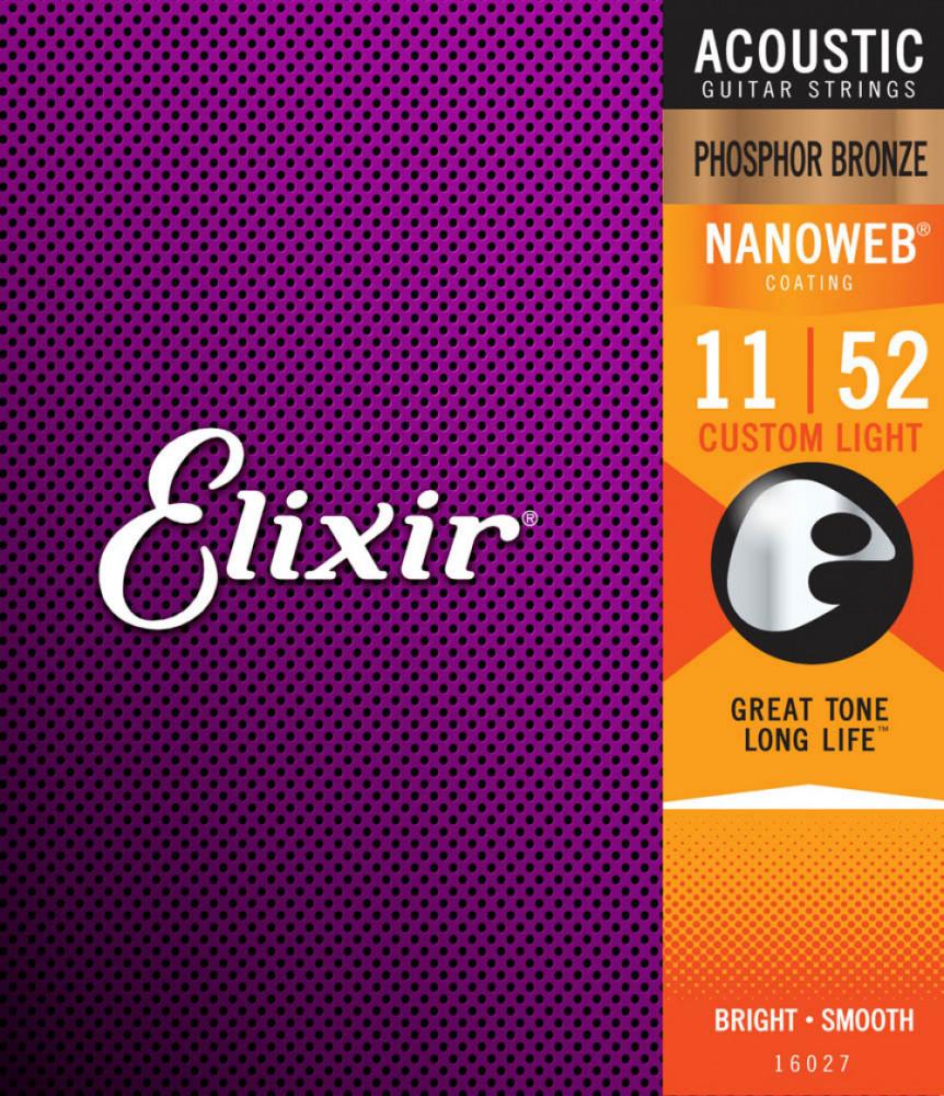 Elixir 16027 Acoustic Phosphor Bronze Nanoweb Light 11-52 strängset för akustisk westerngitarr