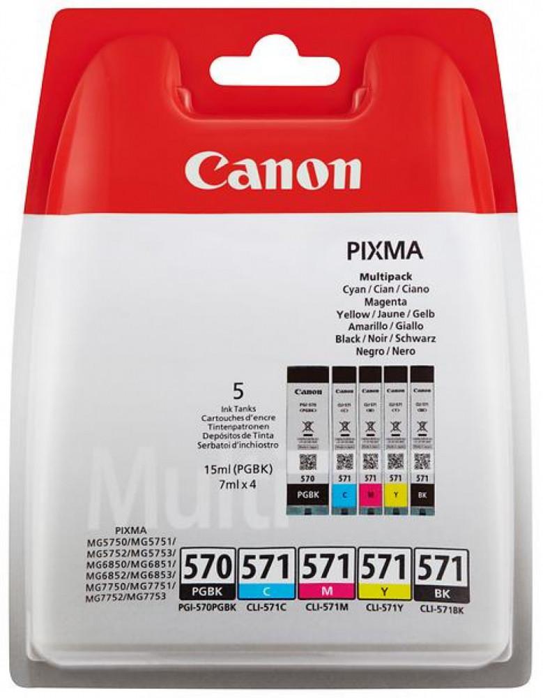 Canon CLI-571C/M/Y/BK (Cyan/Magenta/Gul/Svart) + PGI-570PGBK (Pigmentsvart)