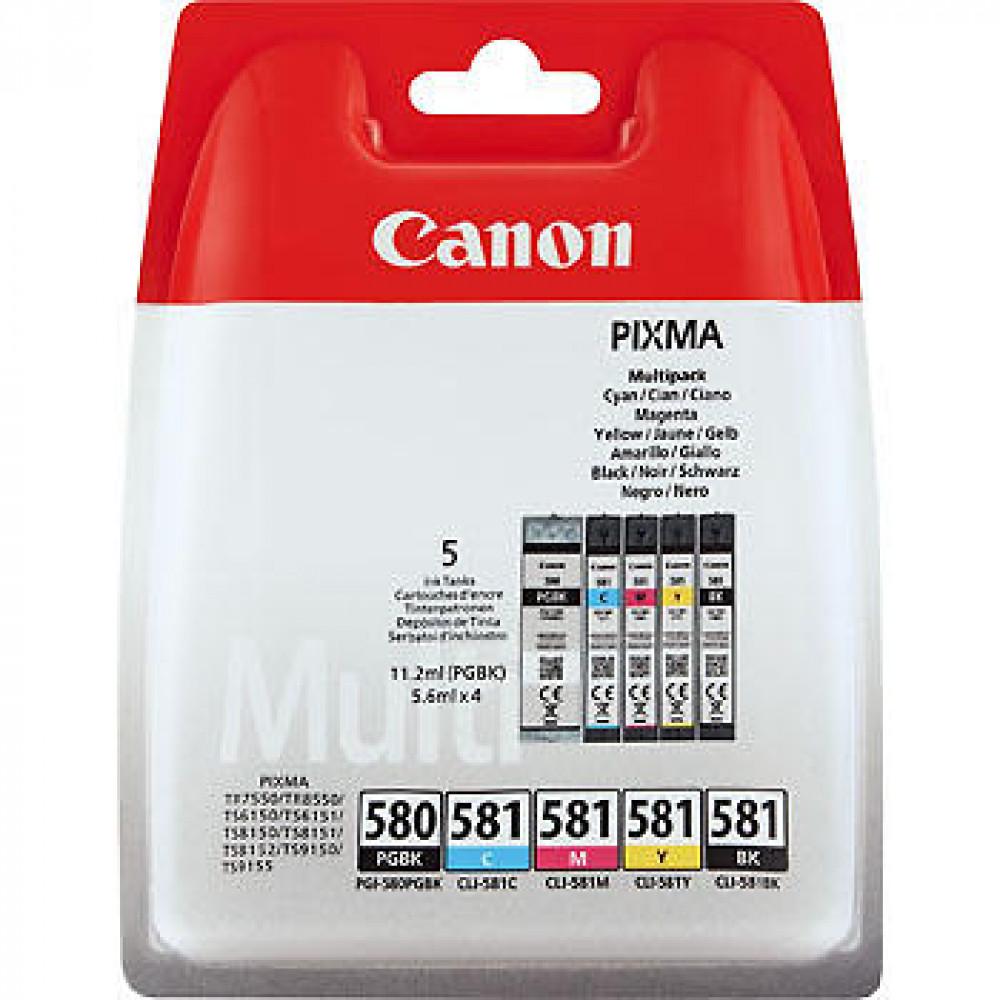Canon PGI-580BK + CLI-581 (Svart/Cyan/Magenta/Gul)
